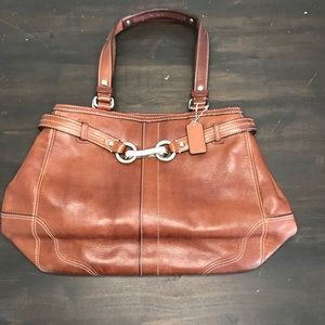 Coach brown leather shoulder purse
